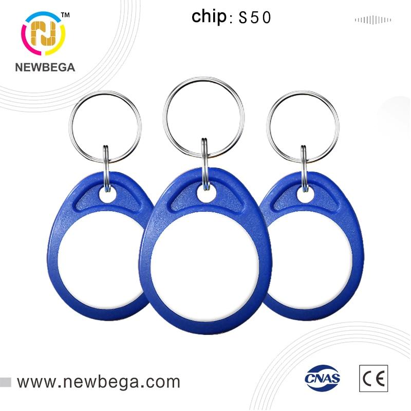 10PCS RFID 13.56MHz Clone MF1ICS50 AK004 S50 IC Badge Keychain For Access Control  Keyfob NFC Tag Key Free Shipping