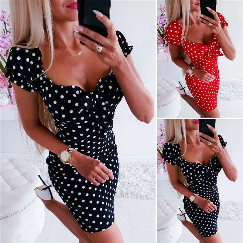 Womens Strappy Polka Dots Mini Dress Ladies Casual Summer Beach Sundress Bodycon