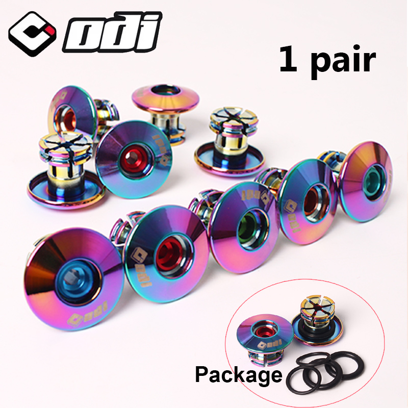 2PC ODI Bicycle Grip End Plugs Aluminum Alloy Bike Handlebar Caps Lightweight Mountain Bike Accessories For MTB BMX DH FR Bike