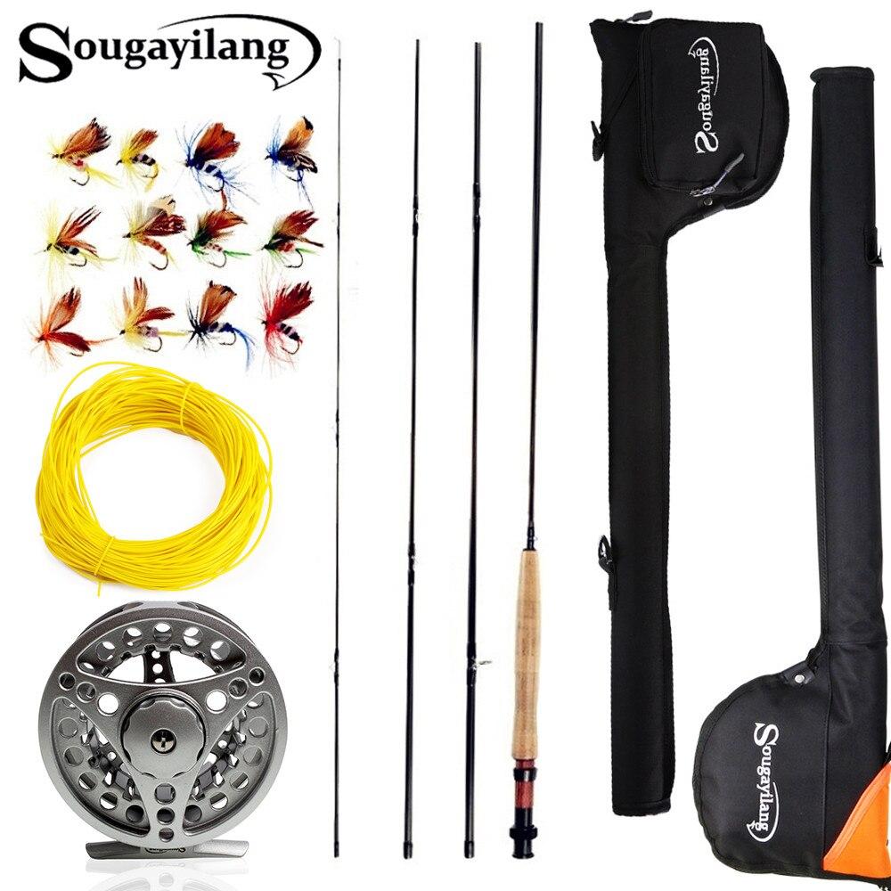 Sougaiiling 2,7 M #5/6 juego de caña de pescar con mosca de 4 secciones y carrete de mosca Combo con señuelo línea bolsa juego de aparejos de caña de pescar