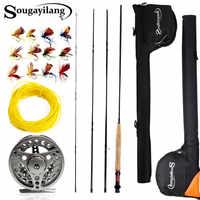 Sougayialng 2.7 m #5/6 vara de pesca com mosca conjunto 4 seção voar vara e voar carretel combinação com isca de pesca linha saco conjunto vara de pesca equipamento