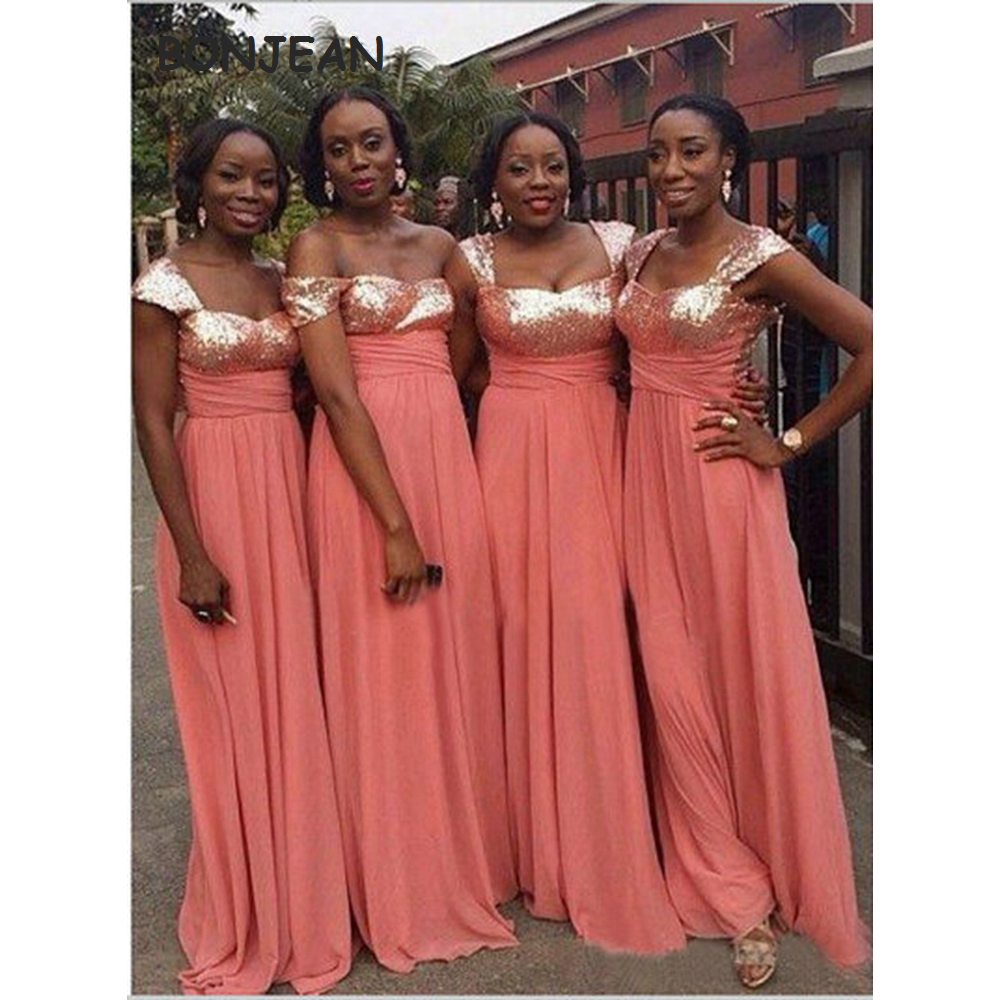 In Stock Coral Bridesmaid Dresses Long V Neck Sequins Chiffon Bridesmaid Dress Sleeveless Floor Length For Wedding