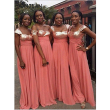 In Stock Coral Bridesmaid Dresses Long V Neck Sequins Chiffo