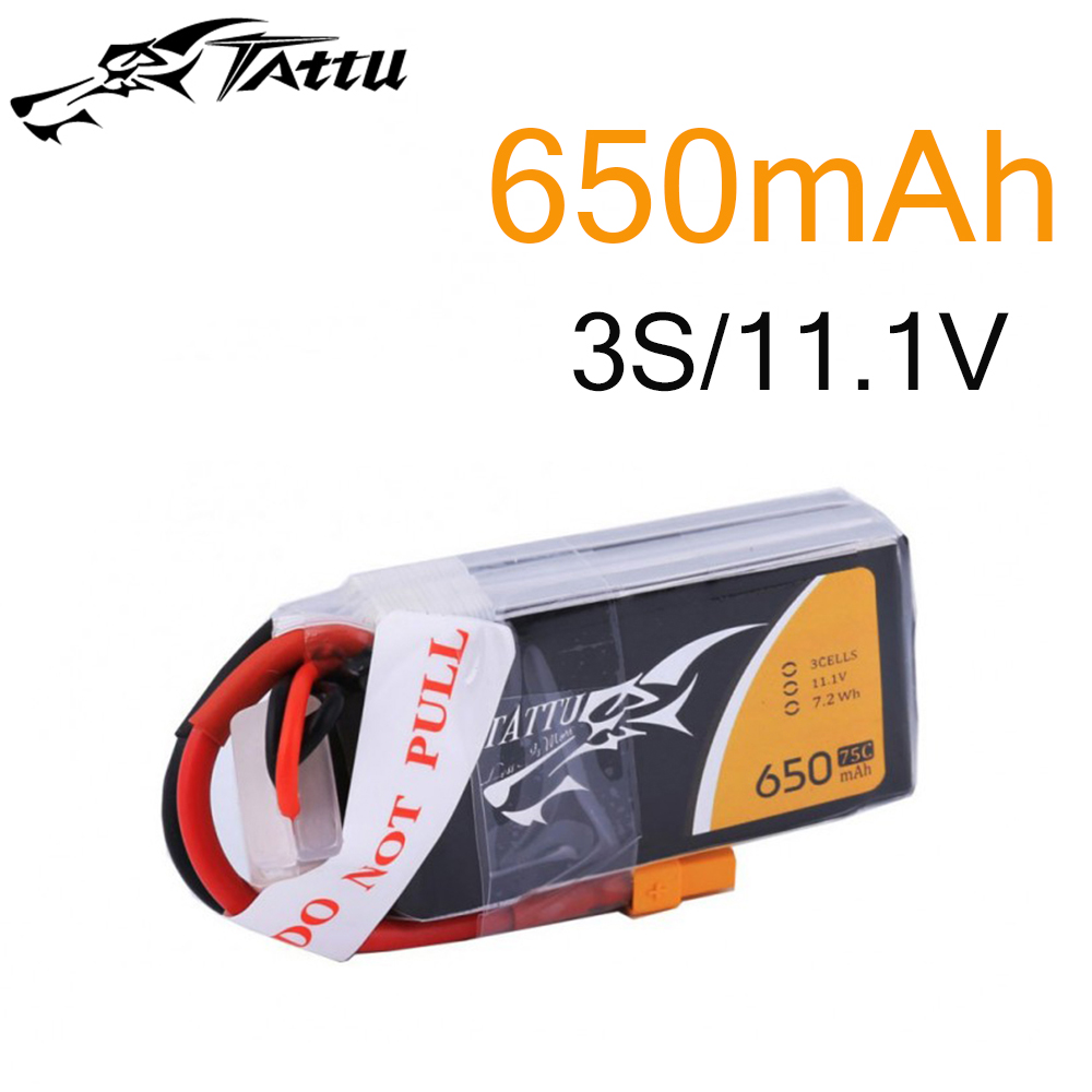 Tattu <font><b>Lipo</b></font> Battery 11.1v 14.8v <font><b>650mAh</b></font> <font><b>3S</b></font> 4S 75C RC Battery with XT30 Plug Batteries for 150 Size FPV Drone Frame image