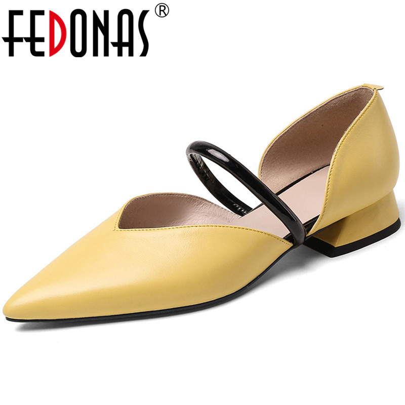 FEDONAS  Women Pumps Cow Leather Classic Design Portable Basic Working Shoes Pointed Toe High Quality Spring Summer Shoes Woman