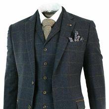Мужской твидовый темно-синий клетчатый шерстяной костюм из 3 предметов с рисунком в елочку, остроносые шоры, загар, Новое поступление