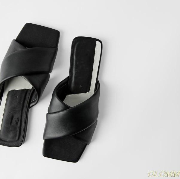 Zapatos ZA, moda verano 2020, zapatillas lisas para mujer, chanclas planas para mujer, zapatillas para exteriores, zapatillas de punta cuadrada, Chanclas de playa para mujer Nuevas zapatillas tejidas de moda para mujer, zapatos planos casuales con punta cuadrada, chanclas de verano 2020 para mujer, sandalias para playa, zapatillas de talla grande 41