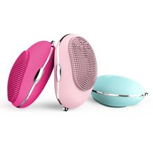 Ultrasonic Electric Facial Brush Cleaner Silicone Cleansing Device Rechargeable Waterproof Face Massager Beauty Instrument цена и фото