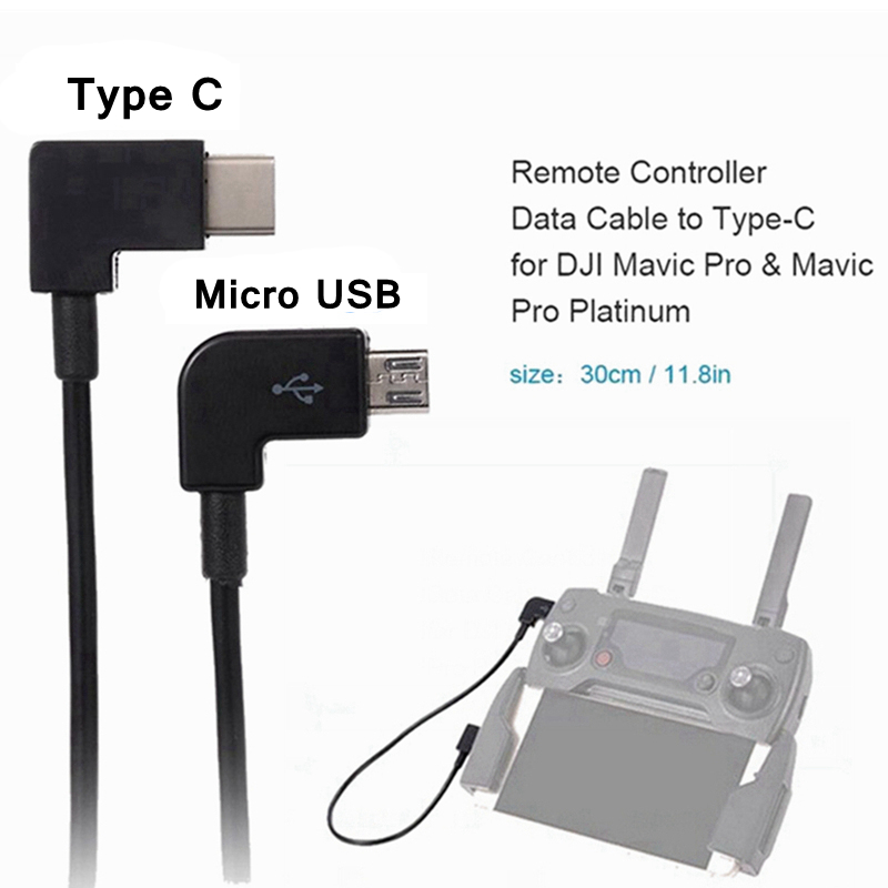 Micro USB To Type-C Android Data Cable Charging Line For DJI Spark Mavic Pro/Air Drone Remote Control Cables USB-C To Type C
