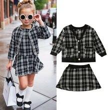 2020 nuevos niños niña Otoño Invierno ropa Vintage abrigo cuadros + falda vestido niños niñas 2 uds ropa conjunto gran oferta