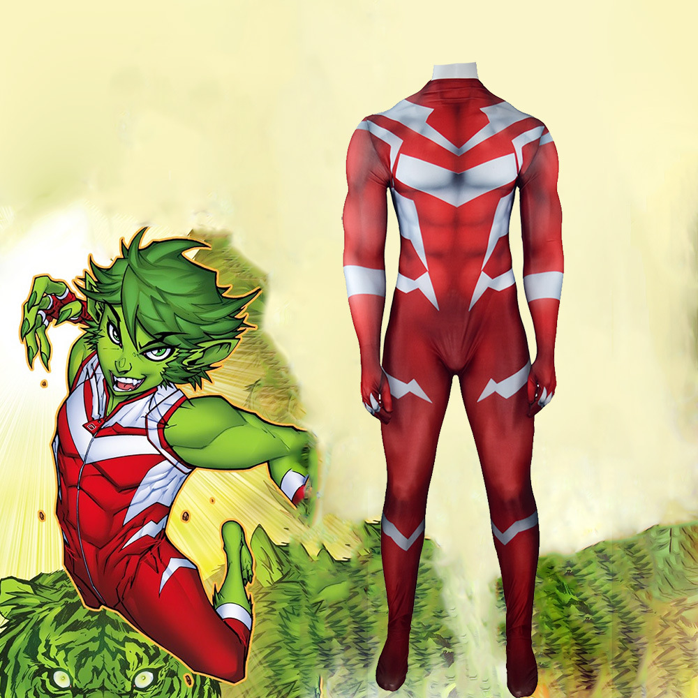 Beast Boy Cosplay Costume Spandex Zentai Suit Halloween Jumpsuit