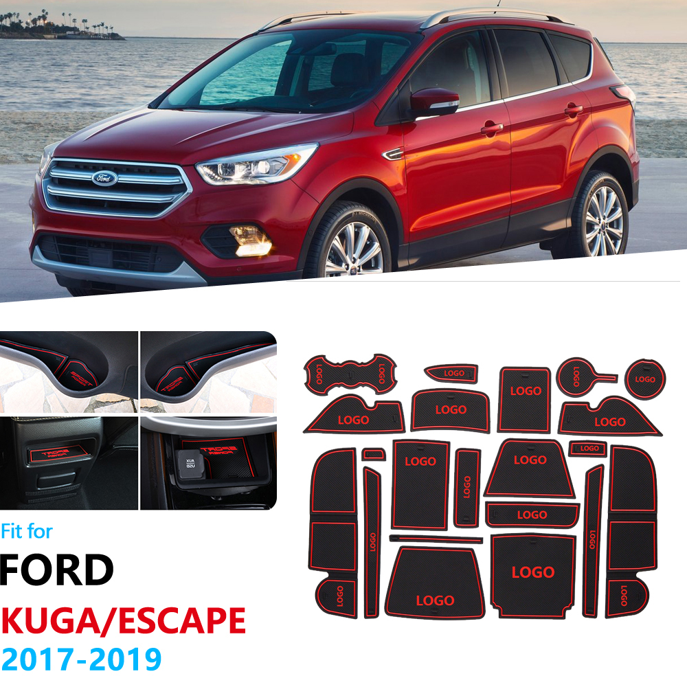 Anti-Slip Rubber Gate Slot Cup Mat For Ford KUGA 2017 2018 2019 Ford Escape MK2 Facelift C520 Coaster Car Accessories Stickers