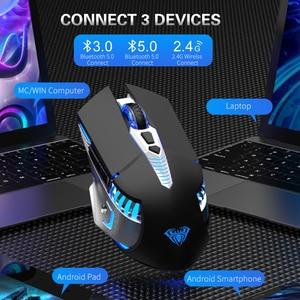 Image 4 - Ratón inalámbrico Bluetooth recargable para juegos con botones laterales 3 modos (BT5.0, BT3.0 y 2,4G) ratones ergonómicos para ordenador portátil PC