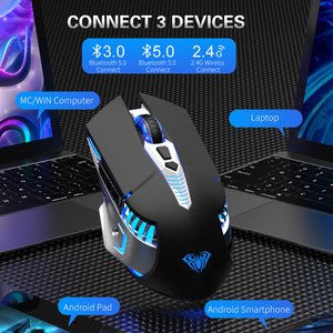 Image 4 - Rechargeable Bluetooth Wireless Gaming Mouse with Side Buttons 3 Modes (BT5.0, BT3.0 and 2.4G) Ergonomic Mice for PC Laptop