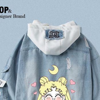 Star same paragraph Sailor hoodies sweatshirt denim jacket new spring and autumn short jacket two-piece suit 1