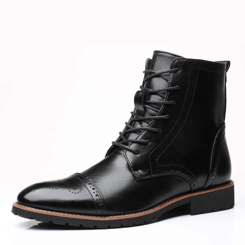 38 ~ 48 Nam Da Thời Trang Brogues Giày Đầm Giày Nam Cao Cấp Hàng Đầu Mũi Nhọn DR Martins Công Sở Giày Tuyết mắt Cá Chân Bò Boot
