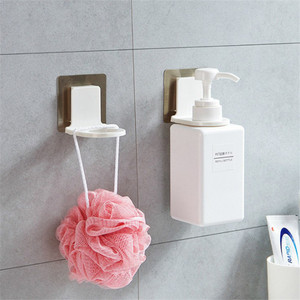 Image 2 - Wall Plastic Shower Gel Bottle Rack Suction Wall Hook Multi function Bathroom Shower Gel Hook Kitchen Hand Sanitizer Holder SN1