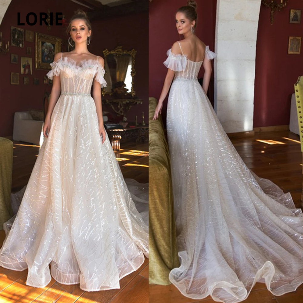 LORIE Shiny Tulle Wedding Dresses Boho 2019 Off The Shoulder Sleeveless Bridal Gowns Beach Wedding Gown Sweep Train Plus Size