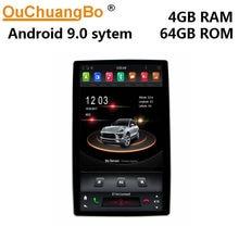 Автомобильный радиоприемник Ouchuangbo PX6, 12,8 дюйма, tesla roating, gps, стерео, android 9,0, ОС с 6-ядерным IPS экраном