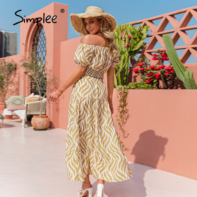 Simplee Holiday off shoulder women dress sets Elastic high waist puff sleeves dresses Stripe split sexy beach dress summer 2021 4