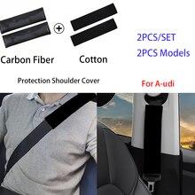 2pcs carbon fiber cotton protection shoulder seat belt for audi