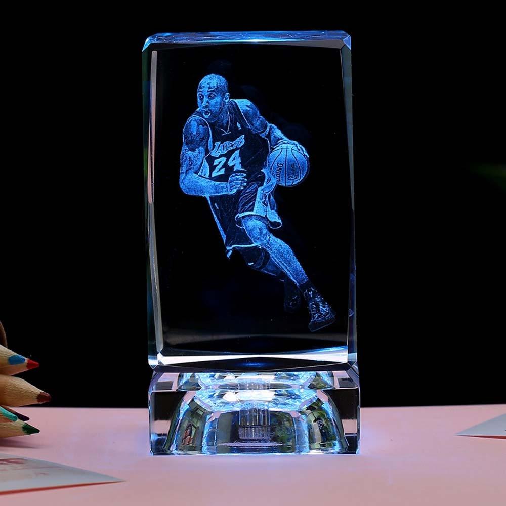 3D Crystal Ball Lamp Basketball Star No 24 Kobe Bryant Famous Sportor Led Colorful Night Light  Boyfriend Kid Christmas Gift