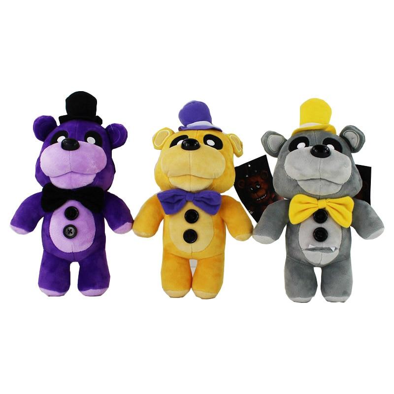 3 Styles Five Nights At Freddy's 4 FNAF Golden Gray Purple Freddy Fazbear Bear Stuffed Plush Toys Dolls For Kid Big Size 30 CM