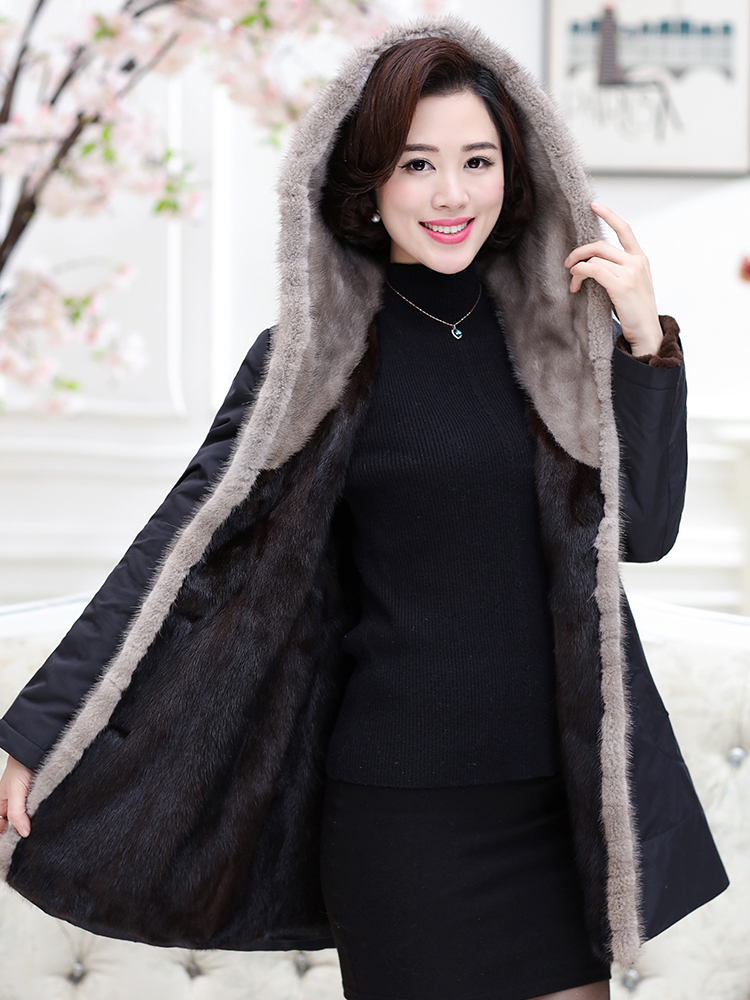 Mink Real Fur Coat 2020 Winter Jacket Women Natural Luxury Fur Parka Women Korean Long Coat Female Hooded Parkas MY3613 S