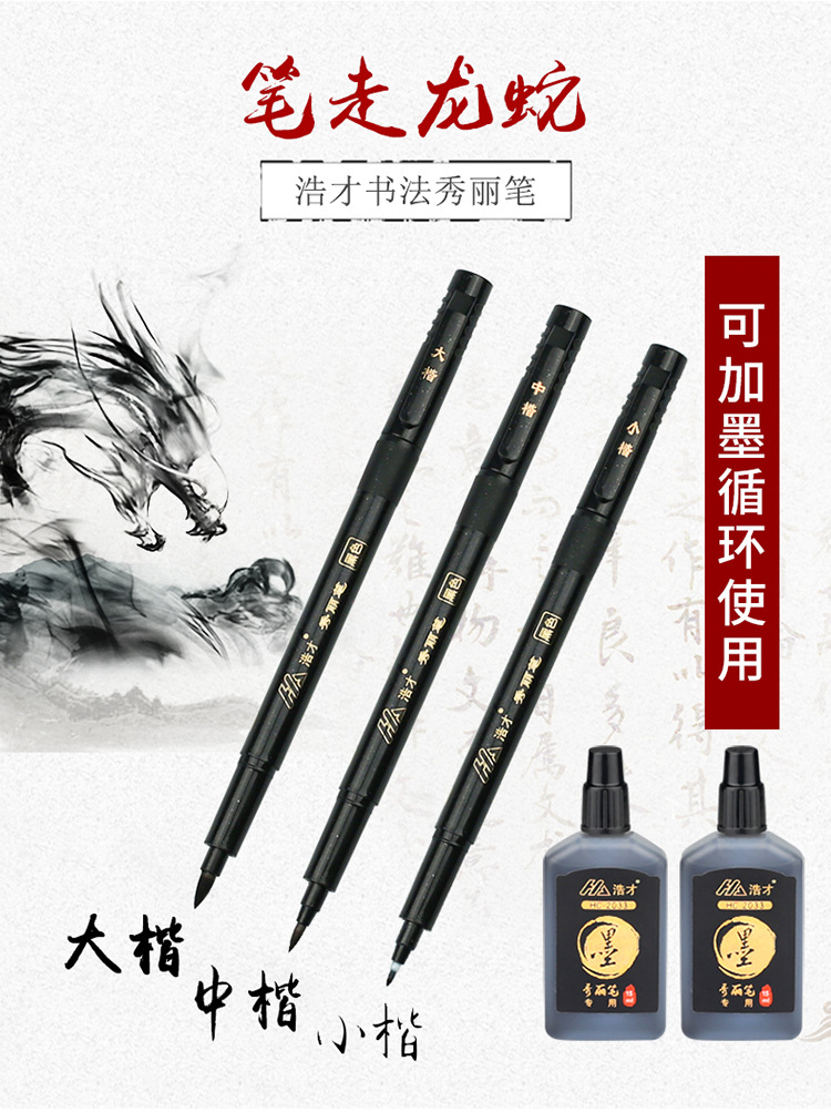 3pcs 3 Size Chinese Calligraphy Class Pen With Nibs Ink /& Guide Book Signing Pen