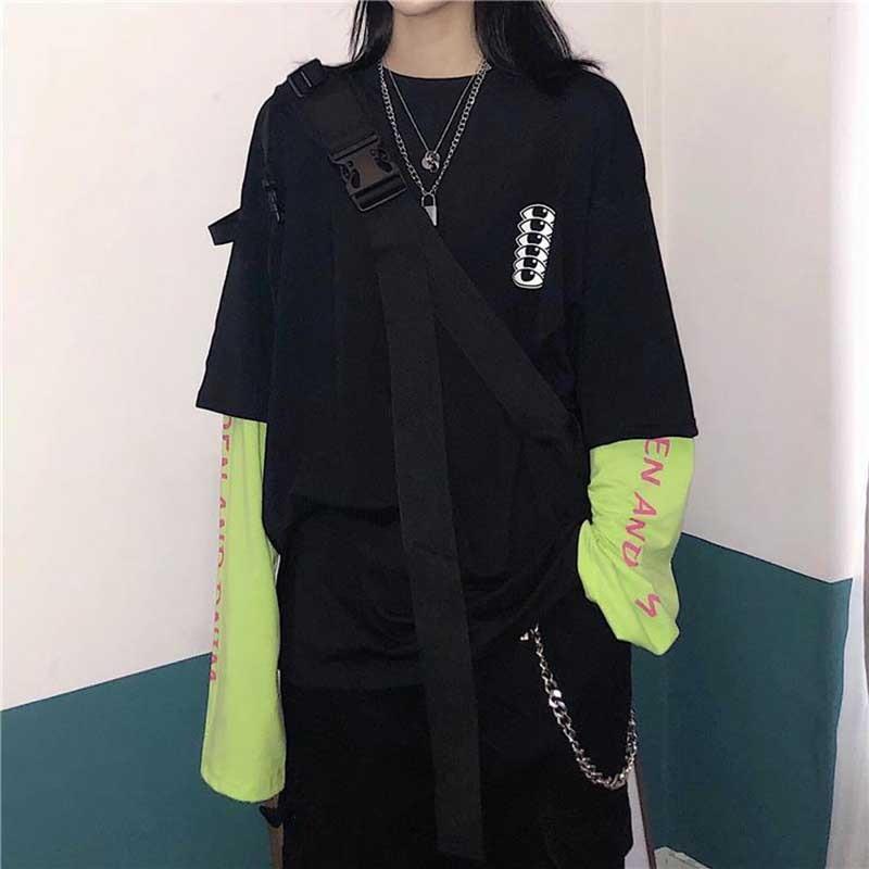 NiceMix Harajuku T Shirt Fake Two Pieces Shirt Wome Stitching Long Sleeve Tops Aesthetic Grunge High Street Graphic T Shirts Str