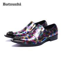 Batzuzhi de cuero italiano Zapatos de vestir para Hombre Zapatos Vintage señaló punta de Metal cuero Formal Zapatos de vestir de los hombres de fiesta de Color y zapatos de boda zapatos