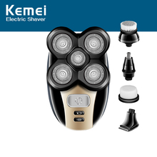 Kemei 5 in 1 Electric Shaver Men Nose Hair Trimmer Washable 4D Floating Blade Head Shaving Beard Trimmer Razor Nose Hair Cutter kemei 3 in 1 washable shaver men shaving machine nose trimmer barbeador 3d beard shaver razor