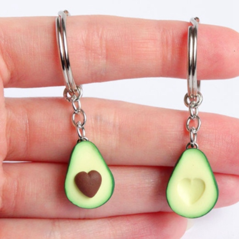 New Simulation Fruit Avocado Heart-shaped Keychain 3D Soft Pottery Avocado Key Chains Jewelry Fashion  Gift