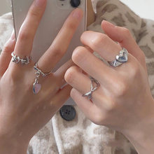 Новое корейское японское модное кольцо с круглым сердцем Крутое