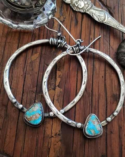 Vintage Boho 925 Silver Turquoise Gemstone Drop Dangle Hooks Earrings Wholesale Green Stone Eyelashes Handmade Big Circle