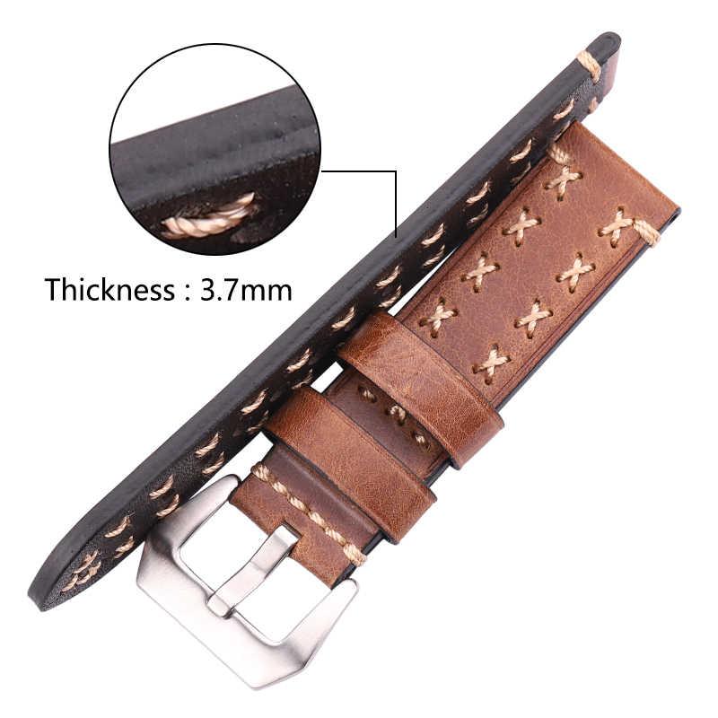 Pulseiras de relógio artesanal 22 24mm couro italiano do vintage pulseira de relógio feminino marrom preto verde café acessórios