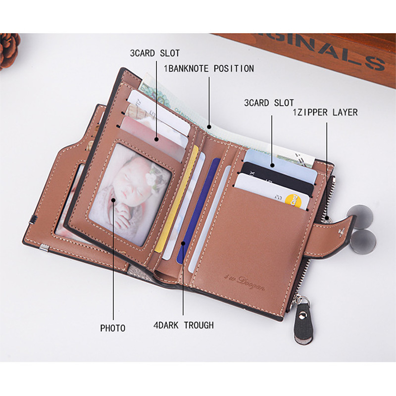H6e5865e17d8149d895784634653d6cb9R - New Business men's wallet Short vertical Male Coin Purse casual multi-function card Holders bag zipper buckle triangle folding