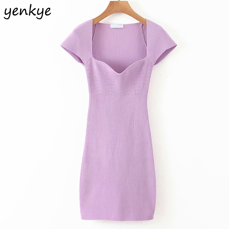 Vintage Solid Color Knit Sexy Dress Women Short Sleeve Bodycon Mini Dress Romantic Female Casual Summer Party Pencil Dress