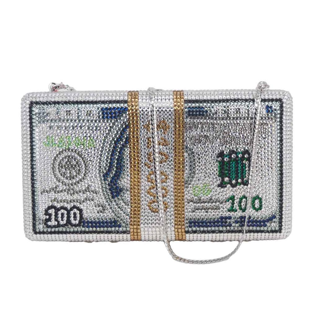 Bagaj ve Çantalar'ten Üstten Saplı Çanta'de Yeni kristal para USD çanta dolar tasarım lüks elmas akşam çanta parti çanta el çantası sc992'da  Grup 1