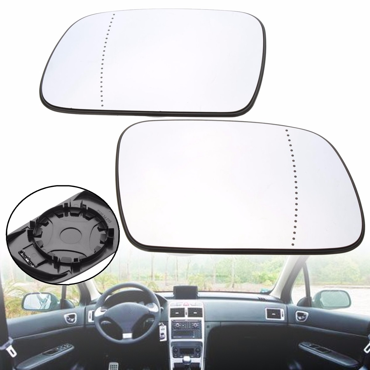 Gauche Côté Passager Grand Angle Wing Door Mirror Glass for Peugeot 407 2004-2008