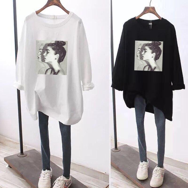 Large women's 100kg autumn fat sister long sleeve T-shirt women's Korean version loose thin medium long bottoming top wholesale