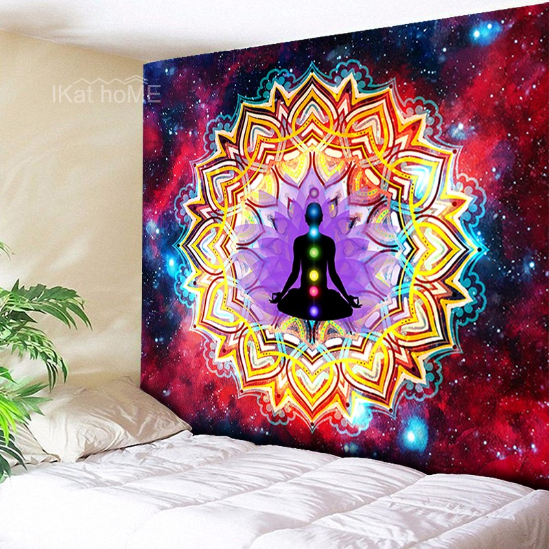 Indian Mandala Tapestry Yoga Wall Hanging Boho Hippie Chakra Tapestries Wall Cloth Fabric Bedspread Beach Mat