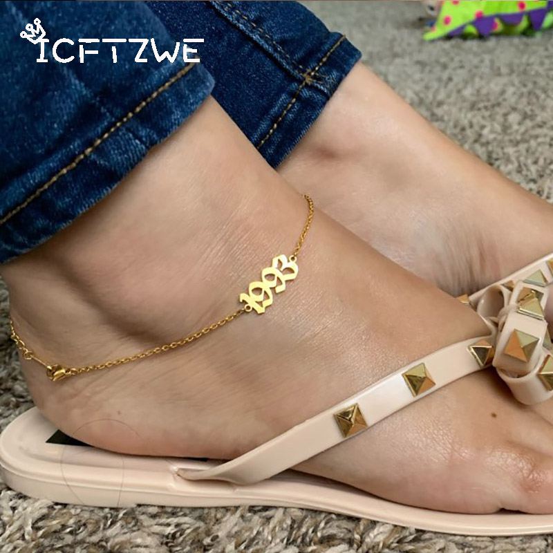 Stainless Steel Birth Year Anklets For Women Old English Year Number 2003 Gold Anklet Bracelet Foot Chain Party Accessories Gift(China)