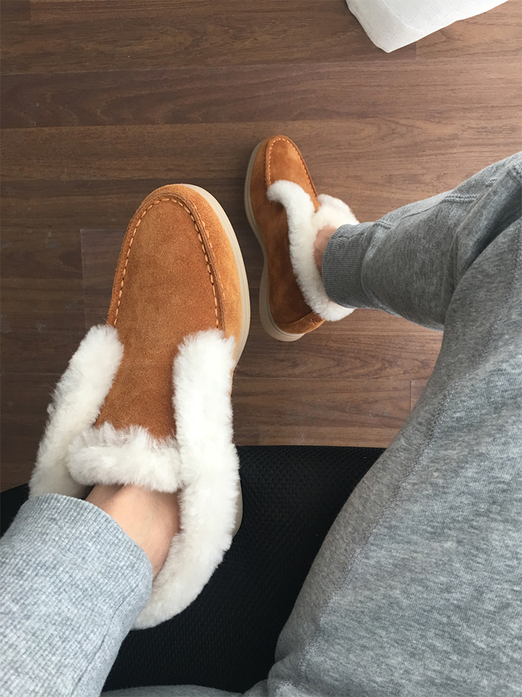 Winter Boots Cow-Suede-Leather-Boots Slip-On Women Ankle No for Natural-Fur Warm