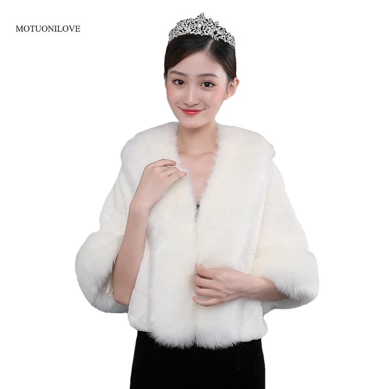 Women Faux Fur Boleros Evening Capes Wedding Wraps White Fur Shrugs Jackets 2020 New Fashion Bridal Bridesmaids Coats Cover Up