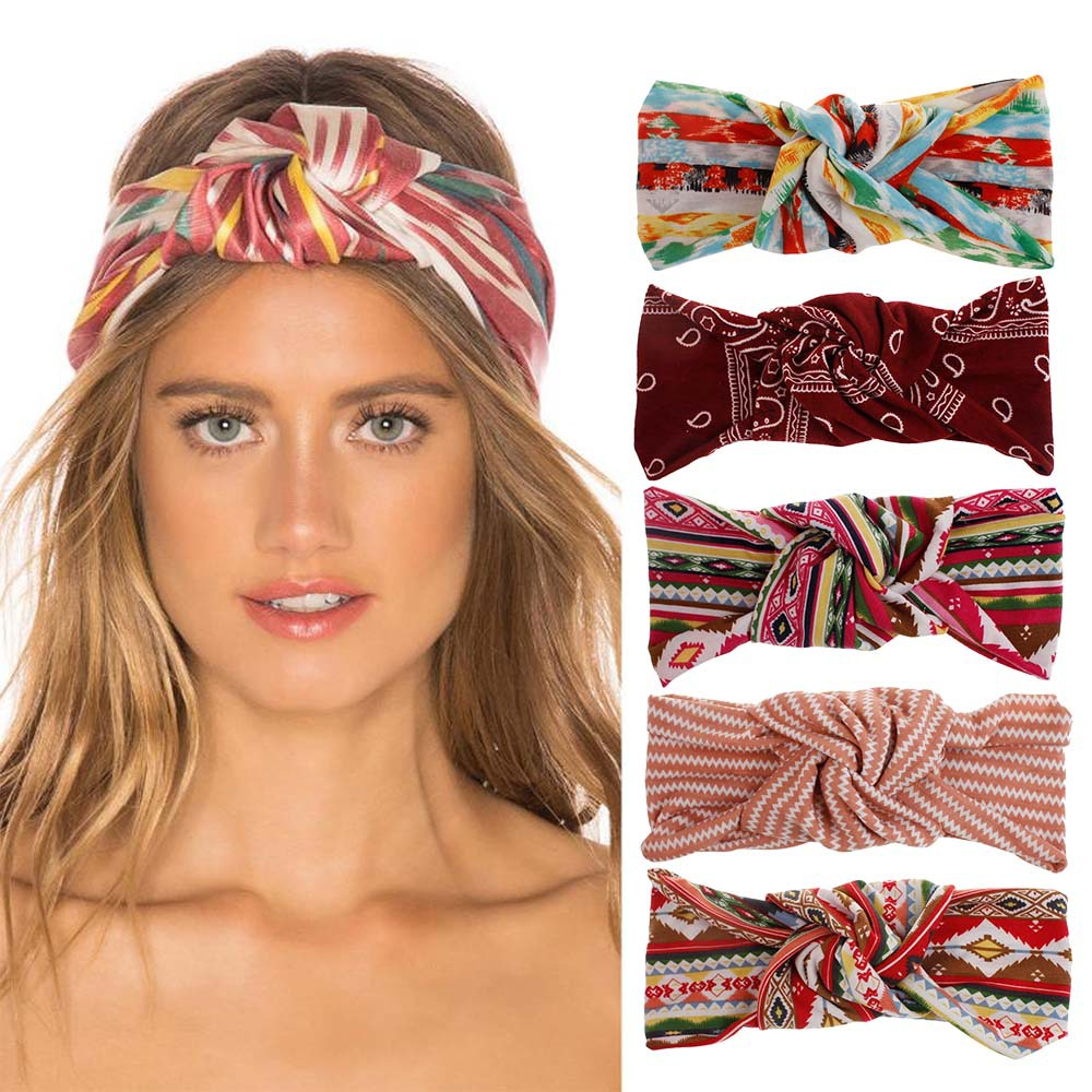 Hair Scrunchies Spring Summer New Printing Headband Hair Bands For Women Bohemian Headbands Turban Hair Accesories Scrunchies