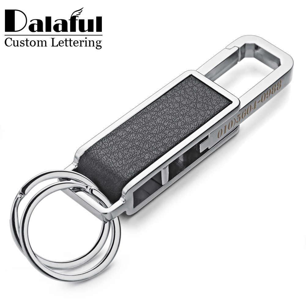 Dalaful Custom Belettering Sleutelhangers Sleutelhangers Lederen Metalen Taille Gesp Draaibaar Flesopener Tool Sleutelhangers Ring Houder K354