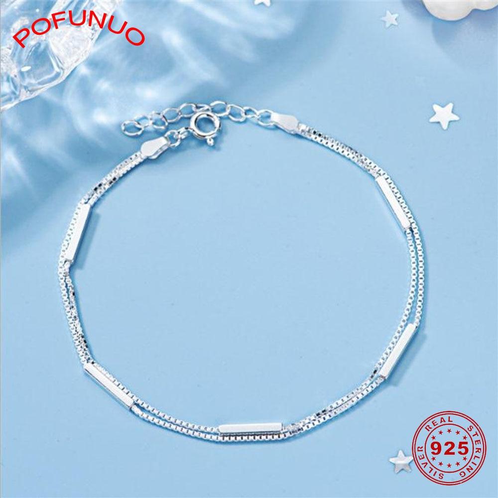 POFUNUO Women Fashion 925 Sterling Silver Bracelets Fine Jewelry Strip Splicing Classic Simplicity Double Layered Girls Bracelet