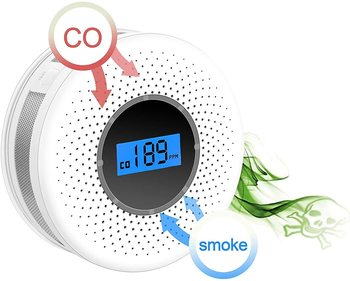 цена на Combination Smoke and Carbon Monoxide Detector with Display, Battery Operated Smoke CO Alarm Detector
