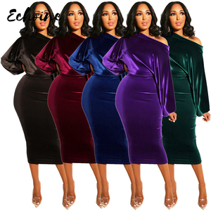 Image 3 - Women New 2020 Spring Winter Off Shoulder Long Sleeve High Waist Velvet Bodycon Dress Office Lady Pencil Party Dresses 5 Colors